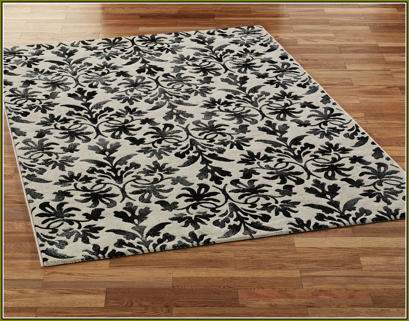Damask Area Rug Black And White