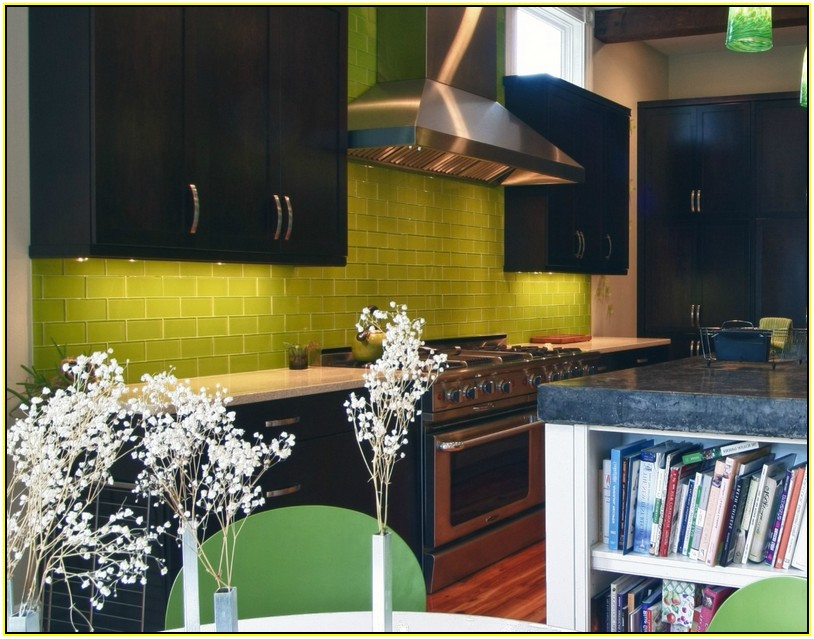 Lime Green Subway Tile Backsplash