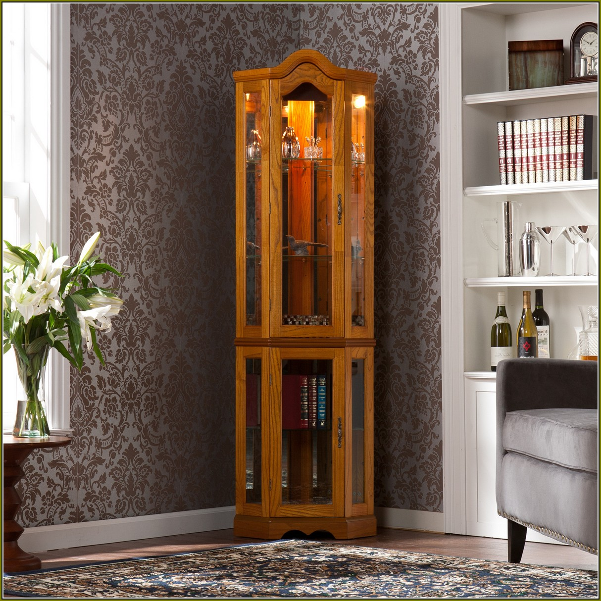 Lighted Curio Cabinet Oak